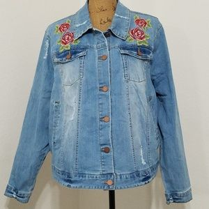 Jackets & Blazers - 3X Distressed jean jacket embroidered NWT